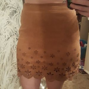 Small Suede-like Tan Cutout Mini Skirt